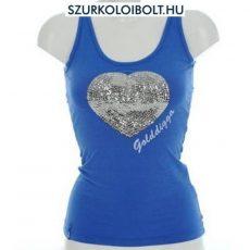 Golddigga Heart Vest ujjatlan flitteres top (kék)