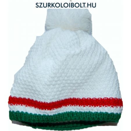 Magyarország feliratos kötött bojtos sapka - szurkolói sapka (fehér)