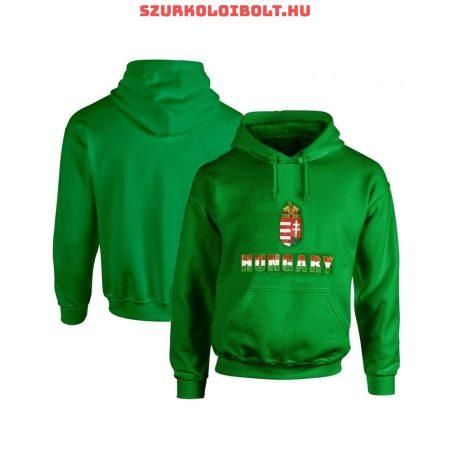 Hungary vagy Magyarország feliratos kapucnis gyerek pulóver (zöld, tricolor felirat) - magyar válogatott pulcsi