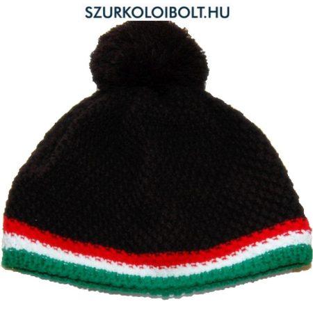 Magyarország feliratos kötött bojtos sapka - szurkolói sapka (fekete)