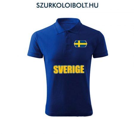 Svéd póló -  szurkolói ingnyakú / galléros póló (kék)