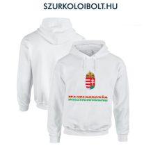 Hungary vagy Magyarország feliratos kapucnis pulóver (Fehér, tricolor felirat) - magyar válogatott pulcsi