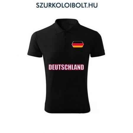 Német póló -  szurkolói ingnyakú / galléros póló (fekete)