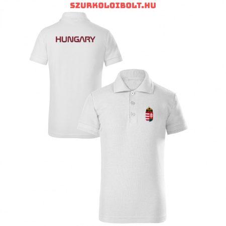 Hungary / Magyarország gyerek póló - Magyarország szurkolói ingnyakú / galléros gyerek póló (fehér)