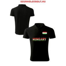 Hungary / Magyarország póló - Magyarország szurkolói ingnyakú / galléros póló (fekete)