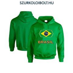 Brasil feliratos kapucnis pulóver (zöld) - Brasil válogatott pulcsi