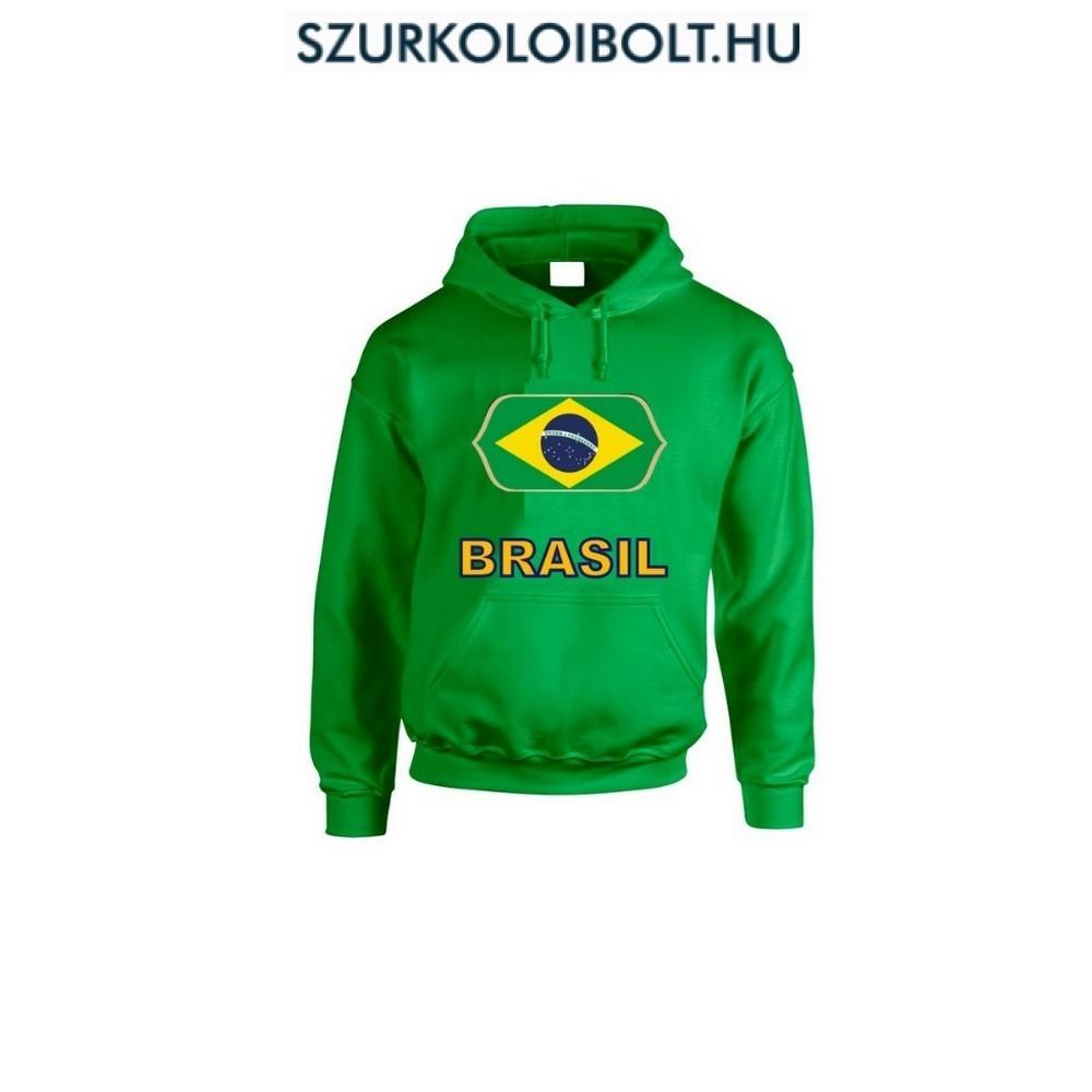 Brasil feliratos kapucnis pulóver (zöld) - Brasil válogatott pulcsi ... 56cc61b82b