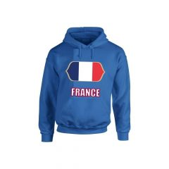 France feliratos kapucnis pulóver (kék) - France válogatott pulcsi