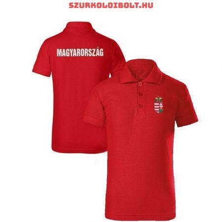 Magyarország gyerek póló - Magyarország szurkolói ingnyakú / galléros gyerek póló (piros)