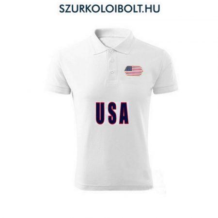 USA póló -  szurkolói ingnyakú / galléros póló (fehér)