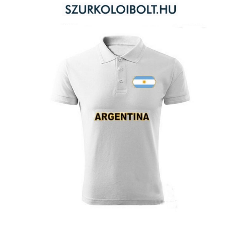 233fd7e8f2 Argentina póló - szurkolói ingnyakú / galléros póló (fehér ...
