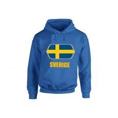 Svéd feliratos kapucnis pulóver (kék) - Svéd válogatott pulcsi