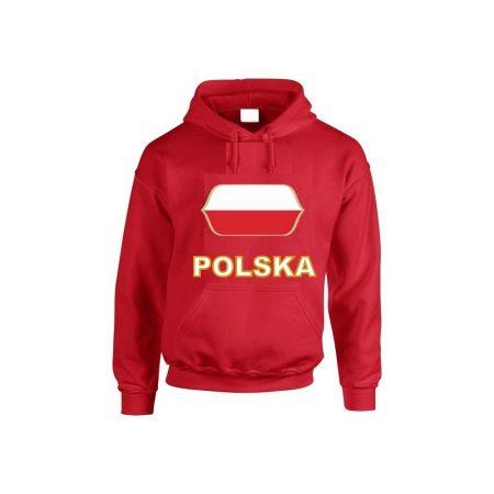 Lengyel feliratos kapucnis pulóver (piros) - Lengyel válogatott pulcsi
