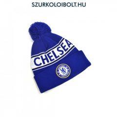 Chelsea FC kötött bojtos sapka - kék színű Chelsea FC logóval