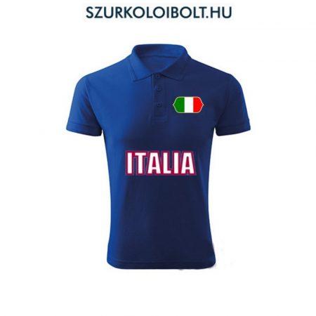 Italia póló -  szurkolói ingnyakú / galléros póló (kék)
