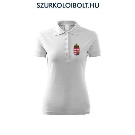Hungary / Magyarország női póló - Magyarország szurkolói ingnyakú / galléros női póló (fehér)