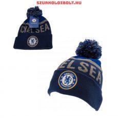 Chelsea FC kötött bojtos sapka - kék színű Chelsea logóval