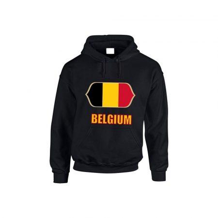 Belgium feliratos kapucnis pulóver (fekete) - Belgium válogatott pulcsi