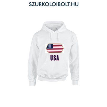 USA feliratos kapucnis pulóver (fehér) - USA válogatott pulcsi
