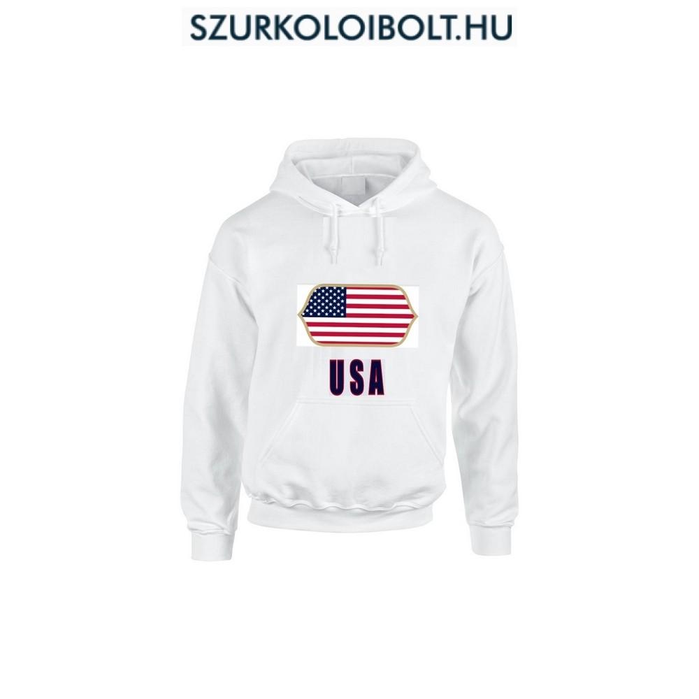 USA feliratos kapucnis pulóver (fehér) - USA válogatott pulcsi ... 20ba4aa1a0