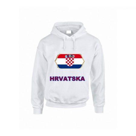 Horvát feliratos kapucnis pulóver (fehér) - Horvát válogatott pulcsi