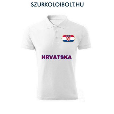 Horvát póló -  szurkolói ingnyakú / galléros póló (fehér)