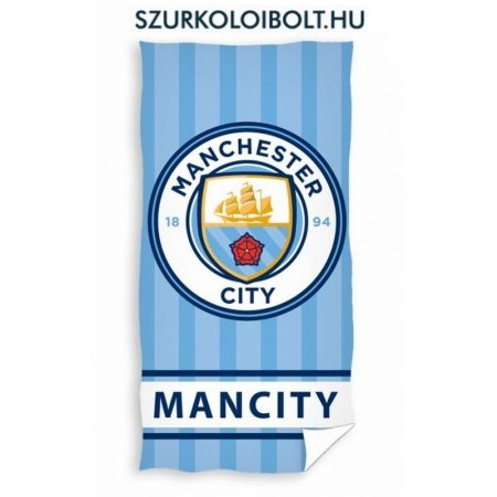 Szurkolói Manchester City strandtörölköző (csíkos) - hivatalos, liszenszelt klubtermék