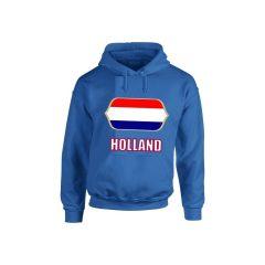 Holland feliratos kapucnis pulóver (kék) - Holland válogatott pulcsi