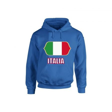 Italia feliratos kapucnis pulóver (kék) - Italia válogatott pulcsi