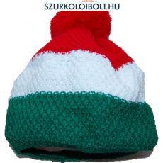 Magyarország feliratos kötött bojtos sapka - szurkolói sapka (trikolor)