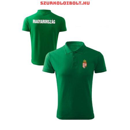 Magyarország póló - Magyarország szurkolói ingnyakú / galléros póló (zöld)