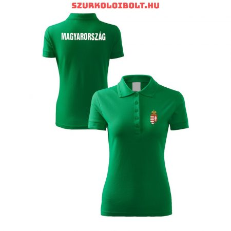 Hungary / Magyarország női póló - Magyarország szurkolói ingnyakú / galléros női póló (piros)