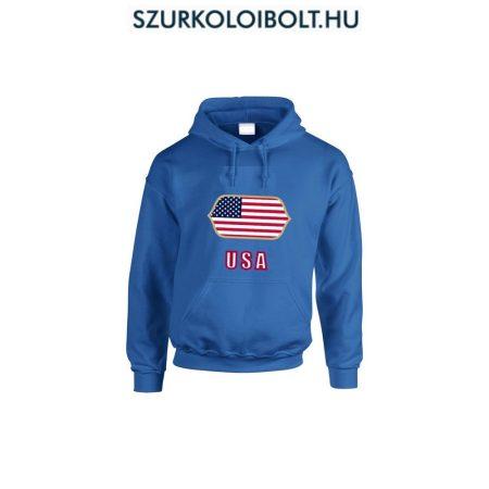 USA feliratos kapucnis pulóver (kék) - USA válogatott pulcsi