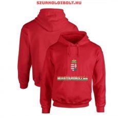 Magyarország feliratos kapucnis pulóver (Piros, tricolor felirat) - magyar válogatott pulcsi