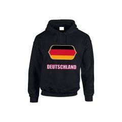 Németország feliratos kapucnis pulóver (fekete) - Németország válogatott pulcsi