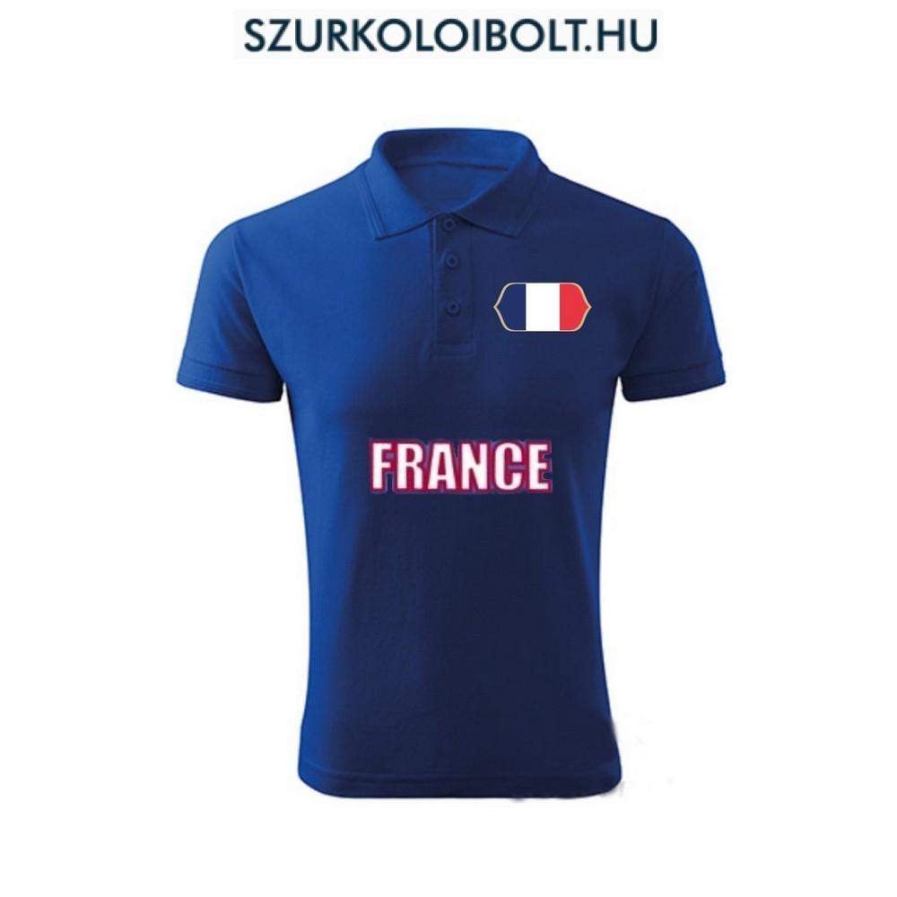 Francia póló - szurkolói ingnyakú   galléros póló (kék) - Eredeti ... 3f78b2e014