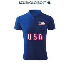 USA póló -  szurkolói ingnyakú / galléros póló (kék)
